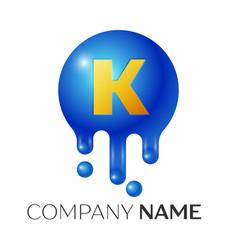 k letter splash logo blue dots and bubbles letter vector image