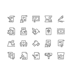 Line Legal Documents Icons vector image vector image