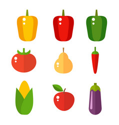 vegetables food cellulose set peppers vector image