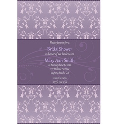 violet bridal shower invitation vector image vector image