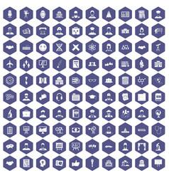 100 intelligent icons hexagon purple vector