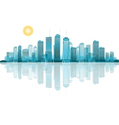 A cityscape with reflection vector