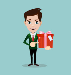 businessman holding a present vector image vector image