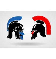 Gladiators Heads in ancient helmets vector image