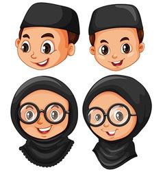Head of muslim boy and girl vector image vector image