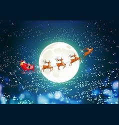merry christmas santa claus in sleigh reindeer vector image