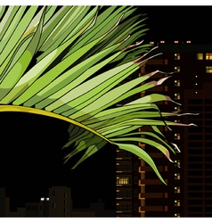 palm leaf on the background of the city at night vector image vector image