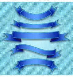 Set ribbon blue vector image