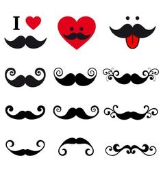 curly mustache set design elements vector image vector image