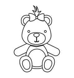 Figure teddy bear bow head vector