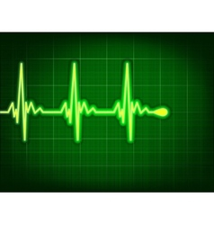 Heart cardiogram on it deep green EPS 8 vector image vector image