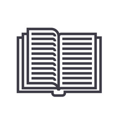 opened textbook line icon sign vector image