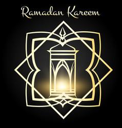 ramadan kareem poster with golden lamp vector image vector image