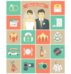 Wedding Icons in Squares vector image
