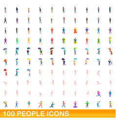 100 people icons set cartoon style vector