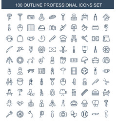 100 professional icons vector image