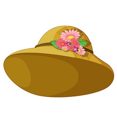 A hat with blooming flowers vector