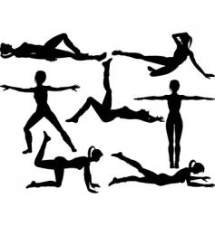 aerobics silhouettes vector image