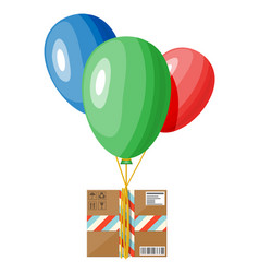 air balloons and cardboard box package vector image