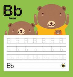 Alphabet b tracing worksheet for preschool vector