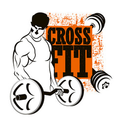 Athlete with barbell cross fit vector