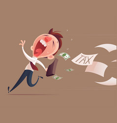 avoid tax business man running away from tax for vector image