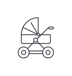 baby stroller line icon concept baby stroller vector image