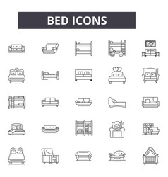 bed line icons for web and mobile design editable vector image
