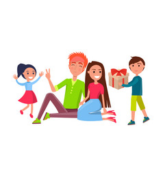 Birthday celebration party people home with kids vector