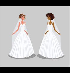 Brides in wedding dresses vector