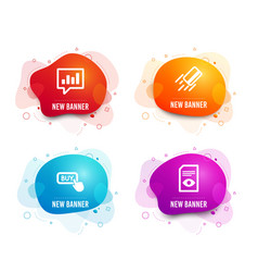 Buy button credit card and analytical chat icons vector