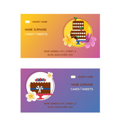 cakes set of business cards vector image