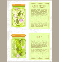Canned zucchini pickled cucumbers with bay leaves vector