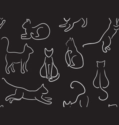 cats in line art style vector image