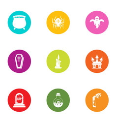 Coffin icons set flat style vector
