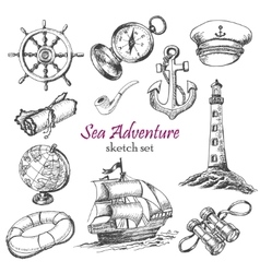 Collection of Sea Adventure in sketch style vector