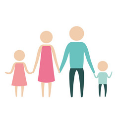 color silhouette pictogram parents with a girl and vector image