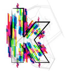 Colorful Font - Letter k vector