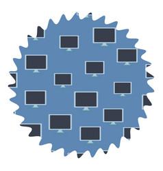 Computer screen round label vector