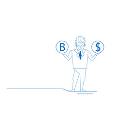 confused businessman hold bitcoin dollar coins vector image