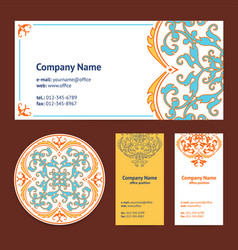 corporative business cards design set and vector image