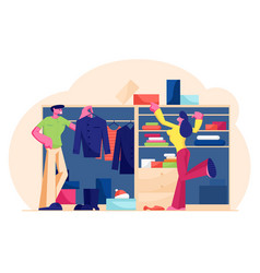 Couple man and woman stand at wardrobe at home vector