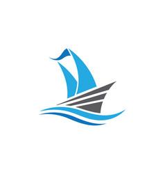 cruise ship logo template icon design vector image