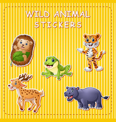 Cute cartoon wild animals on stike vector