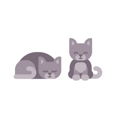 cute little kitten sleeping and sitting flat icons vector image