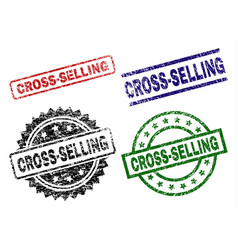 Damaged textured cross-selling stamp seals vector