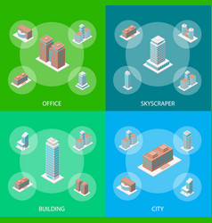 different types office building 3d banner set vector image