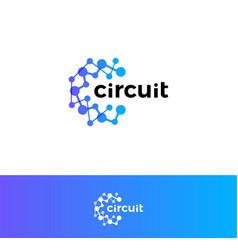 digital innovation circuit logo technological vector image