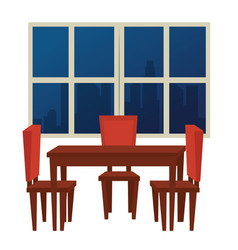 Dinning room scene icons vector