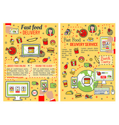 Fast food delivery service thin line banner design vector